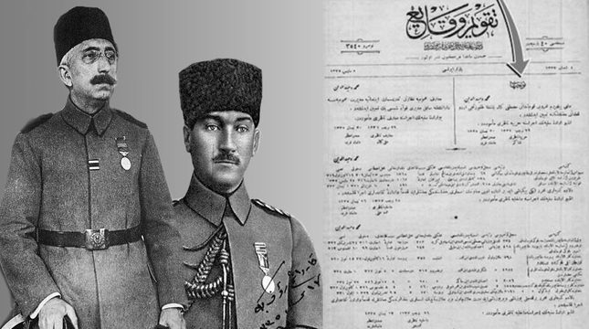 The Sultan's (left) order assigning Mustafa Kemal Pasha (right) to start the war of independence in Samsun, published on the official gazette