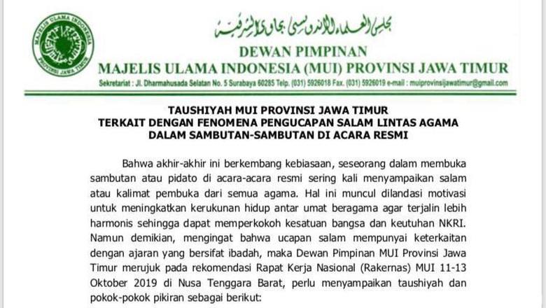 Surat imbauan dari MUI Jatim soal salam pembuka (Foto: Hilda Meilisa Rinanda) detik.com